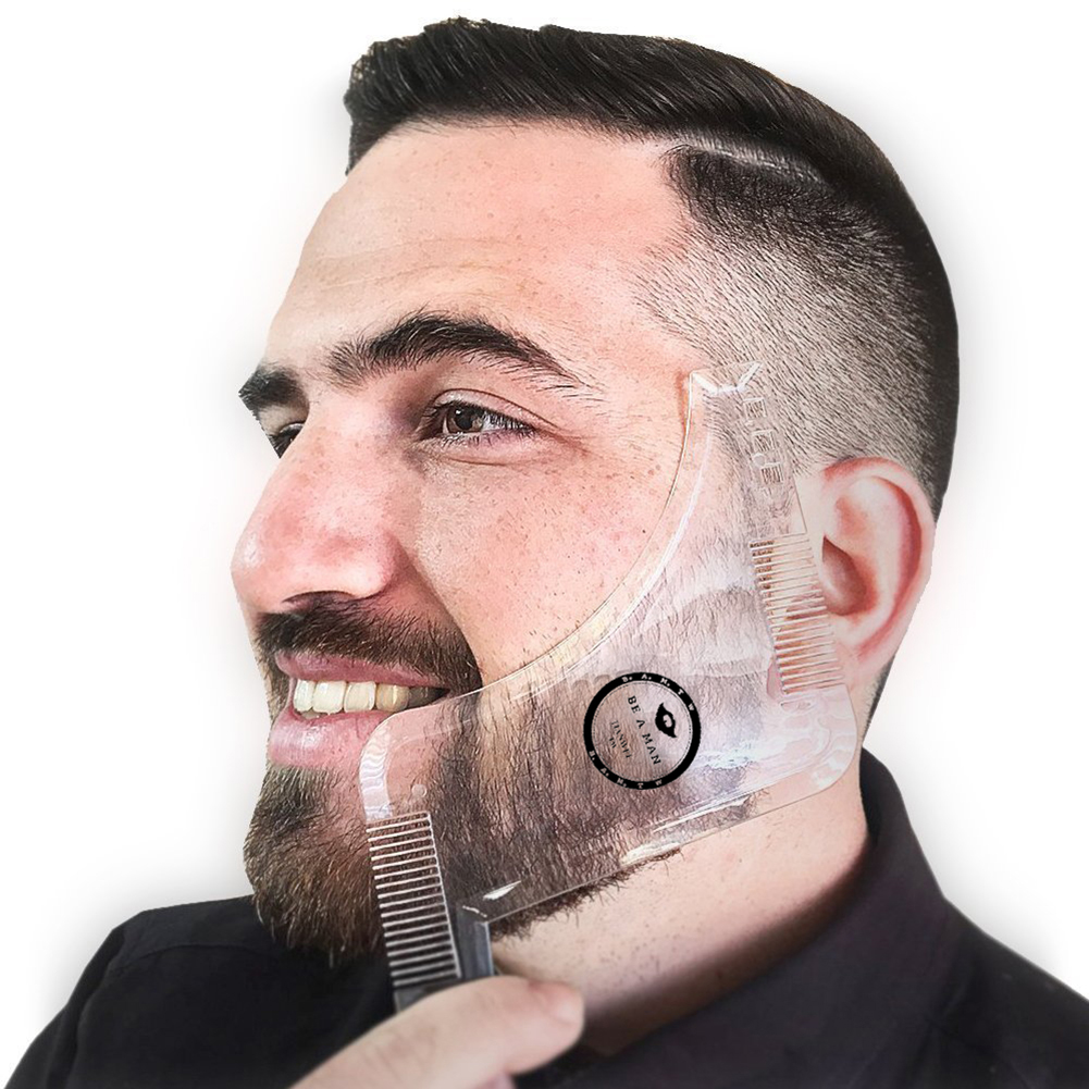 New Arrivals Men Beard Shaper Styling Template Transparent Comb Men Beards Combs Hair Beauty Tool Beard Edging Stencils Shipping
