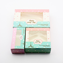 50 PCS Paper Gift Box Wedding Candy Boxes Party Favor Birthday Cake Packaging Window Lover Heart Hand Made