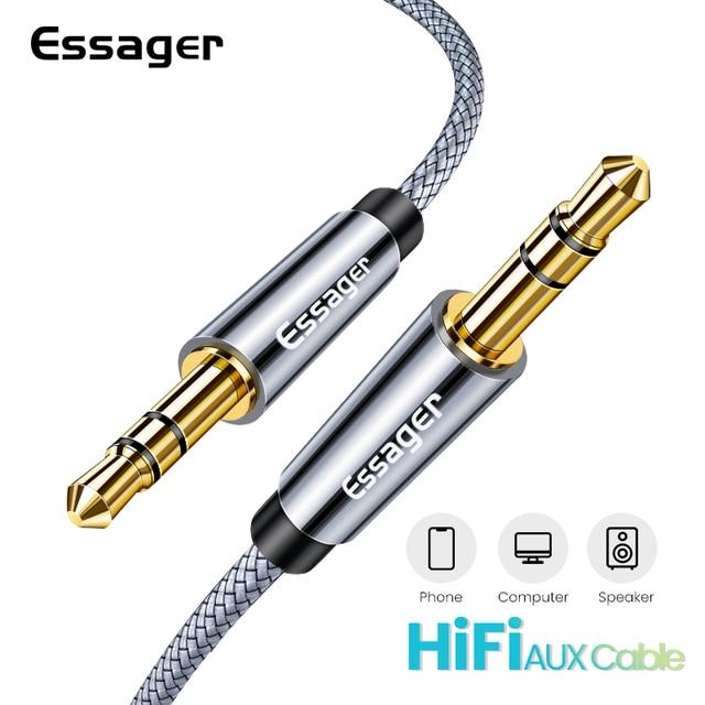 Essager Aux Altoparlante Cavo di Filo 3.5mm Jack Cavo Audio Per Auto Adattatore Per Cuffie Jack Maschio a Jack Da 3.5mm cavo Per Samsung Xiaomi