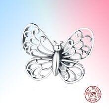 Подвеска бабочка в виде насекомого из серебра 925 пробы с кристаллами