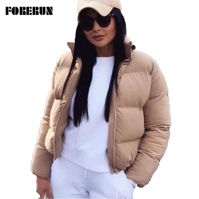 FORERUN Bolha Moda Brasão Sólidos Gola de Grandes Dimensões Padrão Outono Inverno Jaqueta Curta Feminino Jaqueta Soprador Parkas Mujer 2019