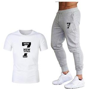 Image 2 - Tide brand LOGO printing mens short sleeved T shirt fashion casual loose T shirt + jogging sports pants 2019 new mens clothing