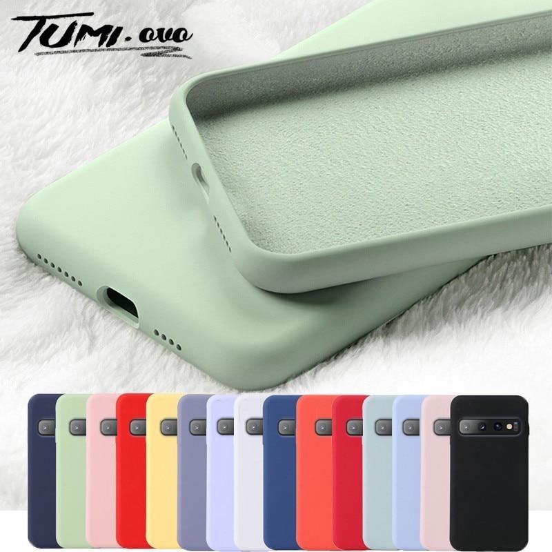 Líquido Original de la caja del teléfono de silicona para Samsung Galaxy A10 A20 A30 A40 A50 A60 A70 A80 S9 S8 S10 más S10E S7 borde A7 J4 J6 2018