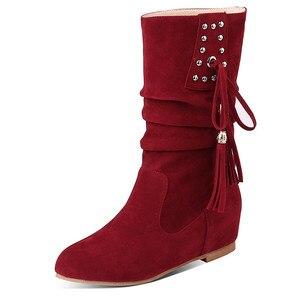 Image 2 - Morazora 2020 Hàng Mới Về Nữ Mắt Cá Chân Giày Đàn Đinh Tán Tua Rua Thu Đông Giày Bằng Giản Nữ Big Size 33 52