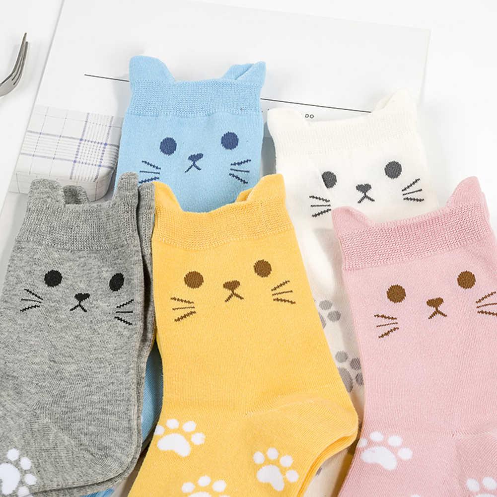 Bonito dibujo animado color caramelos gato pata imprimir mujeres algodón suave abrigado calcetines cortos nuevo