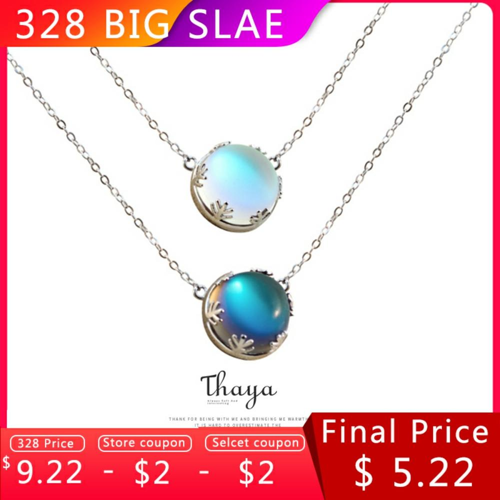 Thaya 45cm Crystal Gemstone s925 Silver Aurora Necklace Halo Scale Light Forest Women Pendant Necklace for Girl Elegant Jewelry