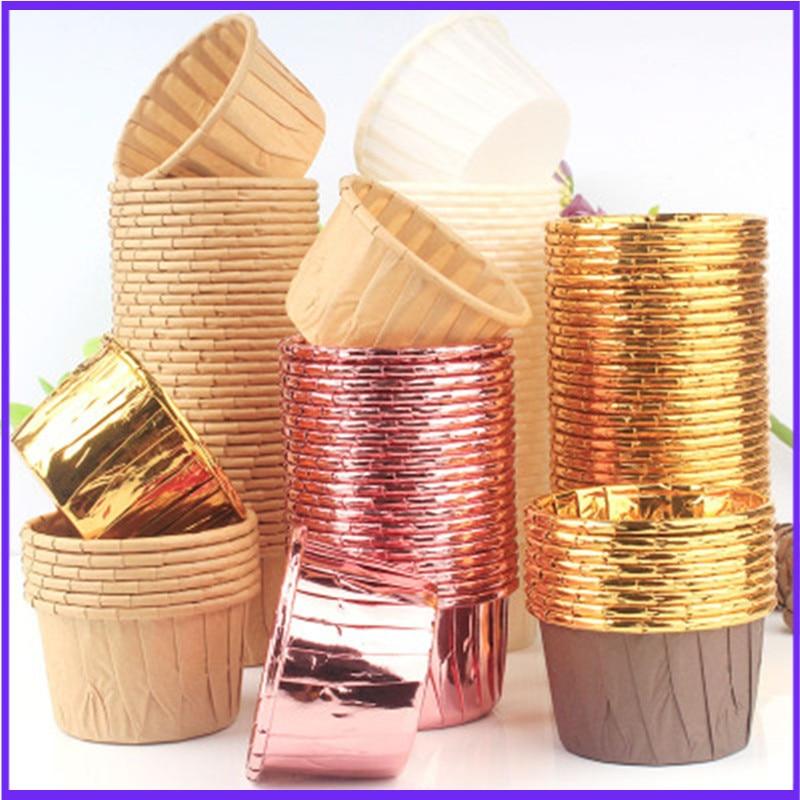 50 шт., золотой Маффин, бумажный стаканчик для кексов, маслостойкий чехол для кексов, подставка для выпечки, для свадебной вечеринки, обертка ...