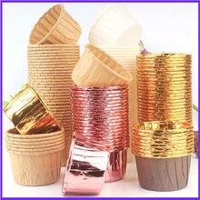 50 pçs dourado queque queque copo de papel à prova de óleo forro do queque cozimento copo bandeja caso festa de casamento caissetes queque papel envolvente