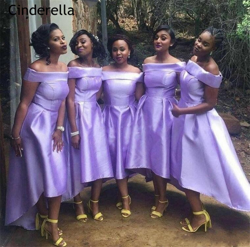 Cinderella Lovely Purple Boat Neck A-Line Ankle Length Bridesmaid Dresses High Quality Satin Wedding Party Bridesmaid Dresses