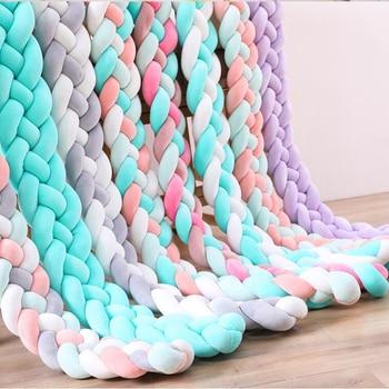 1PC 1M/2.2M/3M/4M Newborn Bed Bumper Long Knotted 4 Braid Pillow Cot Bumper Knot Crib Infant Room Decor Comfortable protector недорого