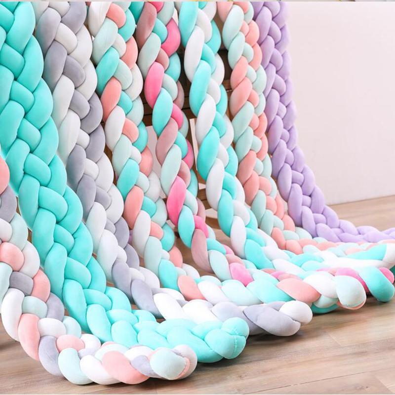 1PC 1M/2.2M/3M/4M Newborn Bed Bumper Long Knotted 4 Braid Pillow Baby Bed Bumper Knot Crib Infant Room Decor Baby Room Decor