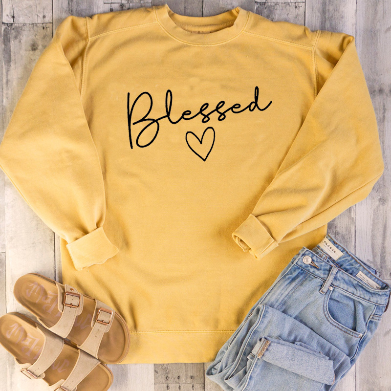 Blessed Women Sweatshirts Christian Graphic Pullover Religion Heart Cute Lady Streetwear Pink Tops Fall Clothing