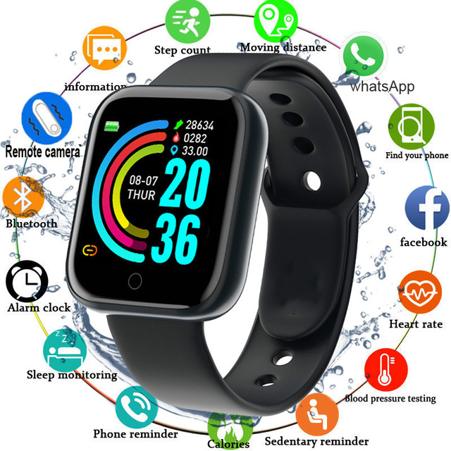 D20 Smart Watch Men Sport Smartwatch Heart Rate Monitor Blood Pressure Tracker Fitness Bracelet For IOS Android Y68 smart watch