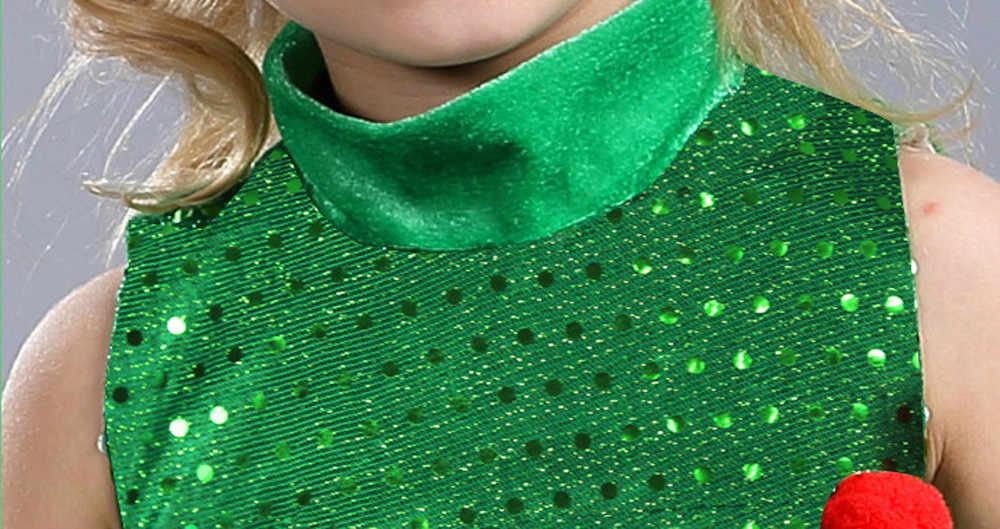 Gadis Anak-anak Hijau Pohon Topi Cosplay Kostum Halloween Gaun Atasan Pakaian Pesta Kostum Purim Elf Cosplay Natal 2020