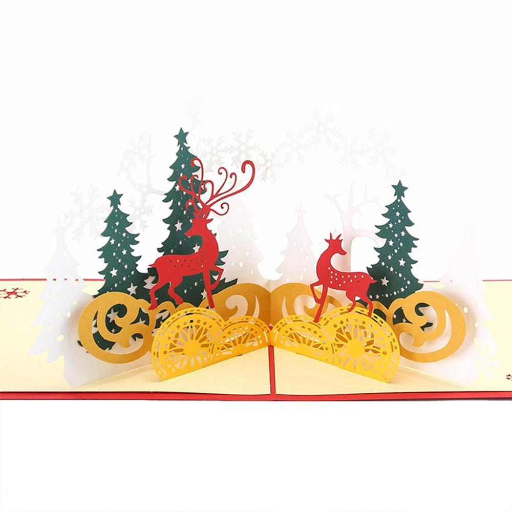 Merry Christmas Cards Christmas Tree Winter Gift 3D Pop Up Cards Christmas Decoration Stickers Laser Cut New Year Greeting Cards