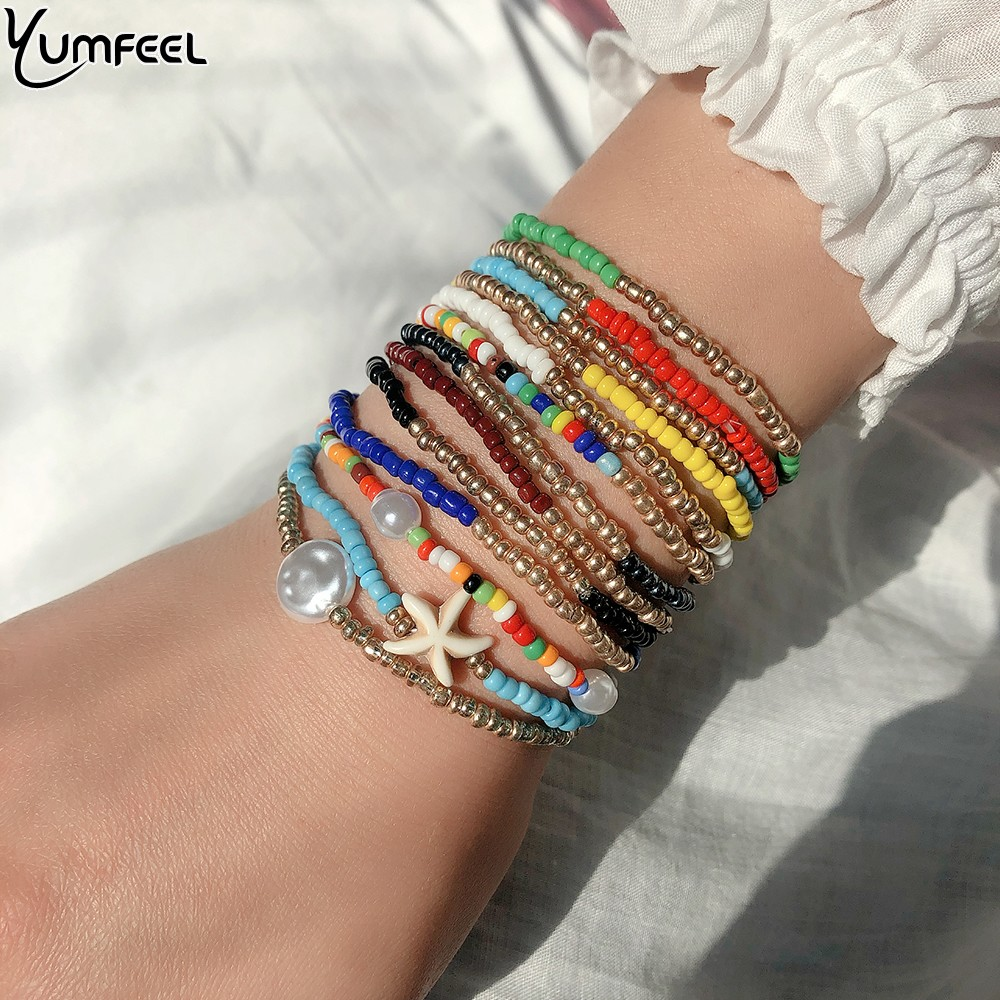 Yumfeel Bohemian Multi Layered Bracelets For Women Boho Glass Seed Beads Bracelets Jewelry Party Gift