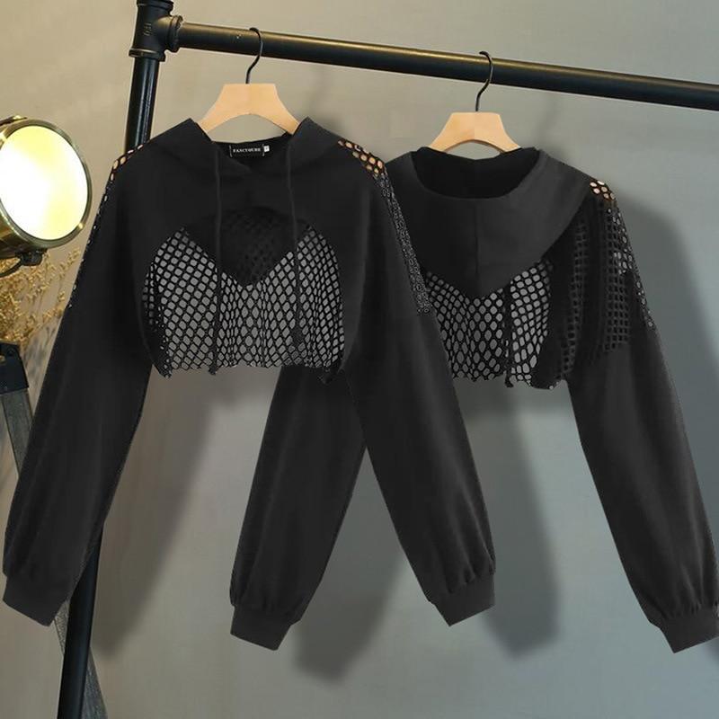 Women's Hoodies Sweatshirt Ultra Short Mesh Splice Pullover Sweatshirts Gothic Women Long Sleeve Lumbar Sexy Top Street Wear