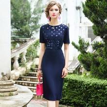 Офисное осеннее платье Новое превосходное качество женские элегантные вечерние платья плюс размер винтажные с коротким рукавом бисерные платья-карандаш