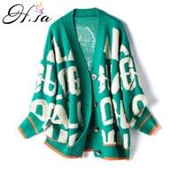 H.SA 2021 cardigan maglione Casual da donna lettere a manica lunga Caridgan giacca lavorata a maglia femminile Appliques cappotti maglione oversize