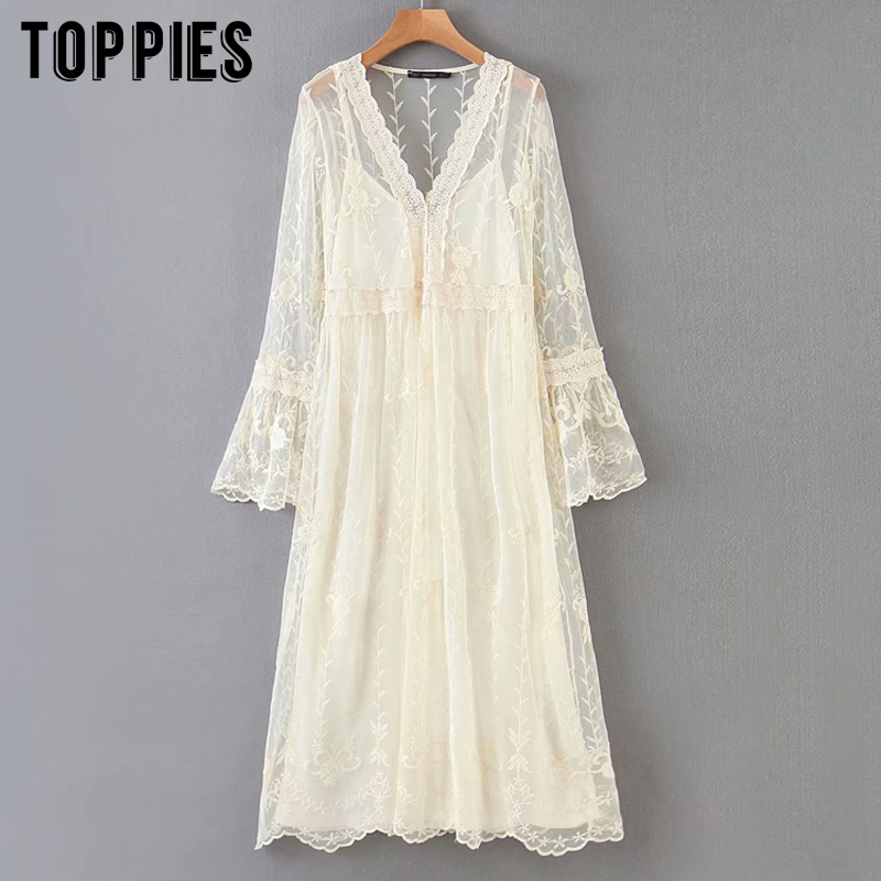 Summer White Lace Dress Embroidery Mesh Midi Dress Sexy V-neck Lolita Party Vestidos Flare Sleeve