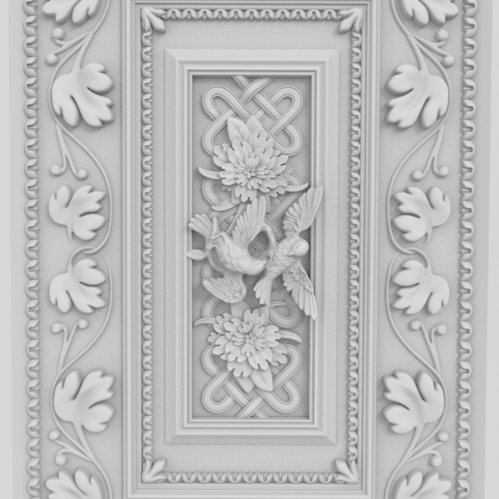 Clear Detailed Flower Birds Happiness Panel 3D Model STL Format CNC Router ArtCAM Aspire Engraving Carving File 461MB A2075