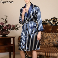 CYSINCOS 2020 New Men Stripe Lounge Sleepwear Faux Silk Nigh