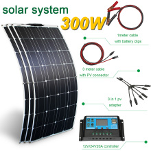 300w panel solar 100w 200 watt flexible panneau solaire 12v 24v battery charge kit