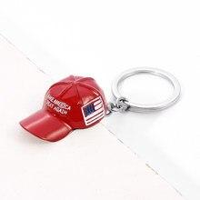 Trump chapéu vermelho pingente chaveiro bandeira americana chapéu fazer américa great novamente metal chaveiro para homens malha tampa do carro chaveiro