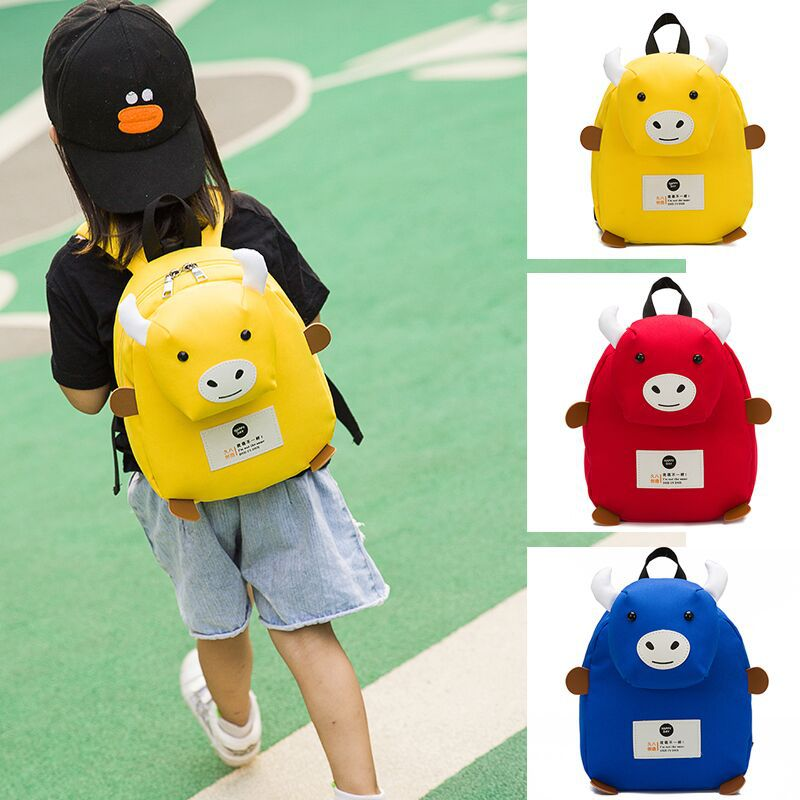 Cartoon 3D Filling Calf School Bag Kindergarten Child Girls Meng Meng Cute Anti-Go Missing Double Oxford Cloth Shoulder Bag