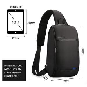 Image 2 - Kingsons קטן תרמיל מעל כתף אחת גברים רצועת חזה תיק פנאי נסיעות 10.1 אינץ Crossbody תרמיל USB טעינה