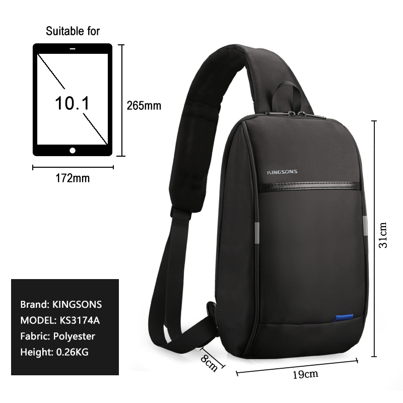Image 2 - Kingsons 2019 New 3174 A  Leisure Travel Single Shoulder Backpack 10.1 inch Chest Backpack For Men Women Casual Crossbody Bag-in Backpacks from Luggage & Bags