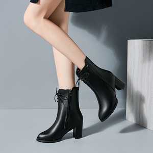 Image 3 - Classics Fashion  Women Mid Calf Boots Cross tied Solid Vintage Winter Boots  Round Toe Med   Plus Size Shoes