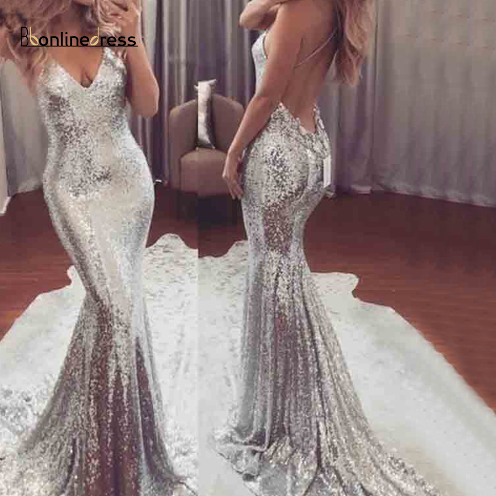 Party-Dress Sequin Silver Mermaid Evening Dress 2019V-Neck Spaghetti Stap Long Party Dress Backless Formal Gown Robes De Bal