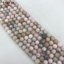 ONEVAN Natural Pink Opal Beads 6mm 8mm 10mm Smooth Loose Round Stone Diy Bracelet Necklace Jewelry Making Gemstone Gift Design onevan natural yellow jade faceted beads 6mm 8mm smooth loose round stone diy bracelet necklace jewelry making gift design
