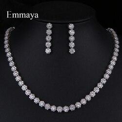 Emmaya, новая мода, натуральный стиль, листья, серьги в форме капель и ожерелье, кубический циркон, женские очаровательные ювелирные наборы для ...