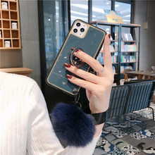 3D Diamond Holder stand Glitter Hairball soft phone case for Huawei P20 P30 lite Mate 20 30 Pro Honor 8X 10 20 Nova 3 3i 5 Cover(China)