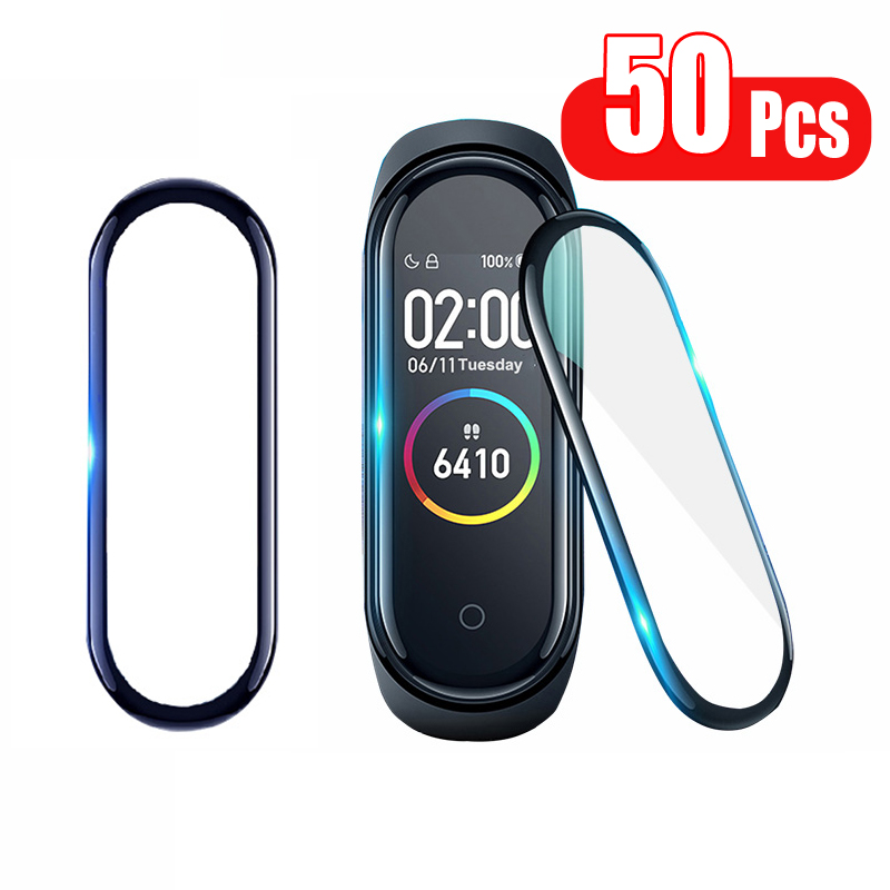50Pcs/Pack Protector Film For Mi Band 4 Protector Soft Miband 4 Film Full Cover Screen Protection Case Protective Accessories