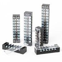 1Pcs Dual Reihe Barrier Schraube Terminal Block Streifen Draht Stecker 600V 15A 3/4/6/8/10/12 Positionen Optional