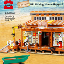 Toys Building-Blocks Yard-Bricks Moc Creator Fishing-Store Model City Street-Series Children