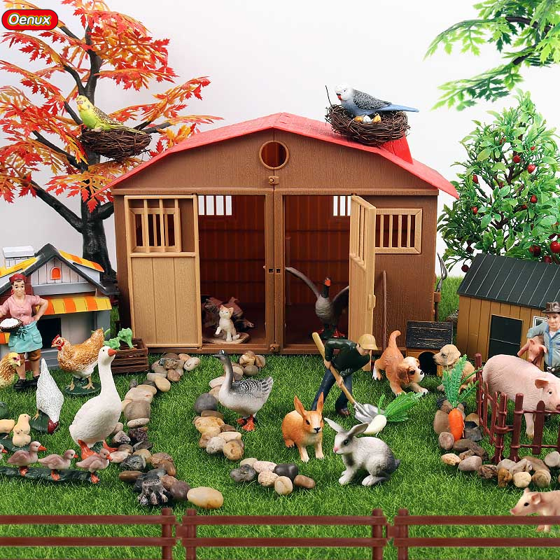 Oenux Zoo Farm Family Simulation Farmer Cow Hen Horse Pig Poultry Animals Model Action Figures PVC Lovely Educational Kids Toy