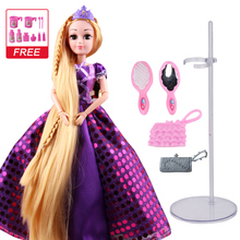 UCanaan 30CM Sweet Princess Dolls Rapunzel Toys For Girls Joint Moving Body Beauty Thick Full Long Blonde Hair Doll Children