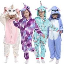Kigurumi piżamy kombinezony jednorożec dla dzieci dziewczynka piżamy chłopiec piżamy zwierząt Panda Licorne Onesie dzieci kostium kombinezon tanie tanio sumioon COTTON Poliester Unisex Pasuje prawda na wymiar weź swój normalny rozmiar Flanelowe Children Pajamas Cartoon