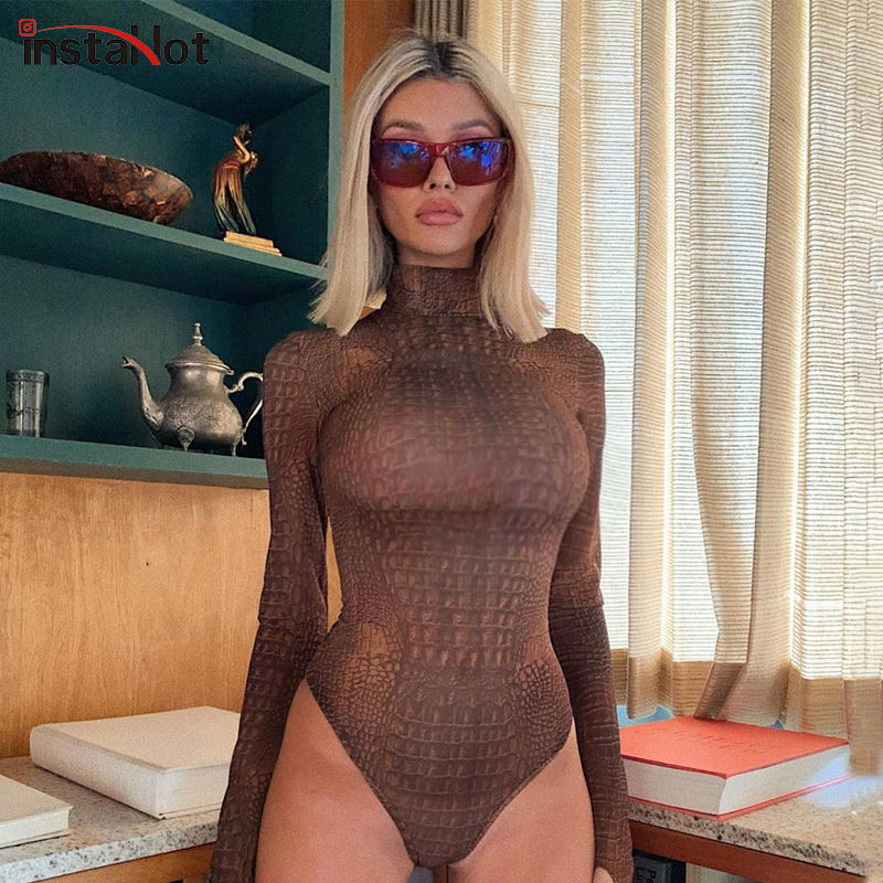 InstaHot Mock Neck Long Sleeve Bodysuit Serpentine Fashion Autumn Romper Women Slim Skinny Casual Lady Snake Printed Body Suit