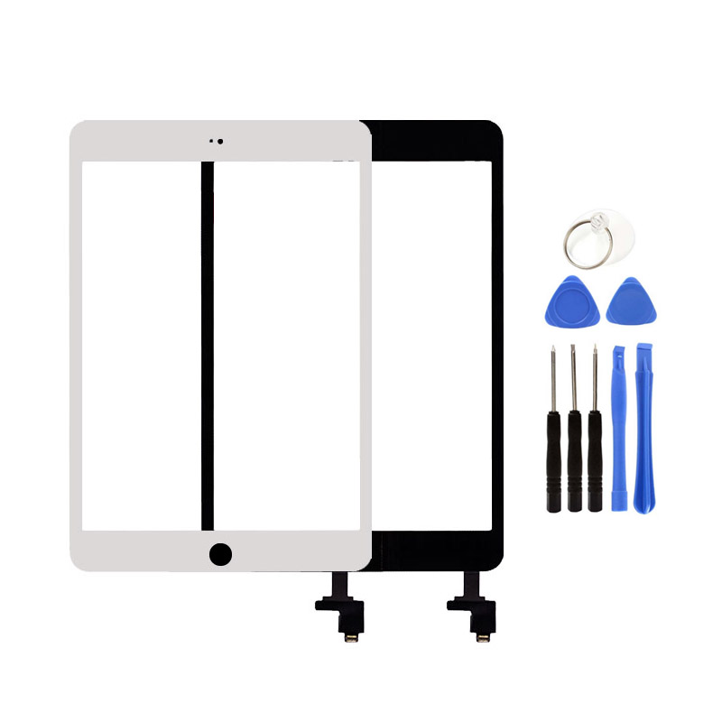 Original For iPad Mini 1 2 A1432 A1454 A1455 A1489 A1490 A1491 Touch Screen Digitizer Sensor+IC Chip Connector Flex+Key Button