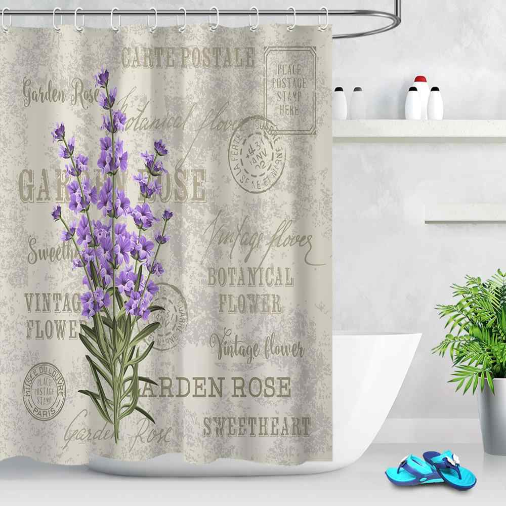Fabric Shower Curtain Lavender Stamp