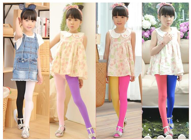 New Spring Summer Patchwork Girls Tights Velvet Pantyhose Baby Dancing Tights Mix Color Stockings For Girls Age 3-12T 2