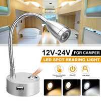 Foco de luz LED Flexible con Control táctil, lámpara de lectura de pared con puerto USB Universal para RV, caravana, barco, Hotel y dormitorio, 12V y 24V