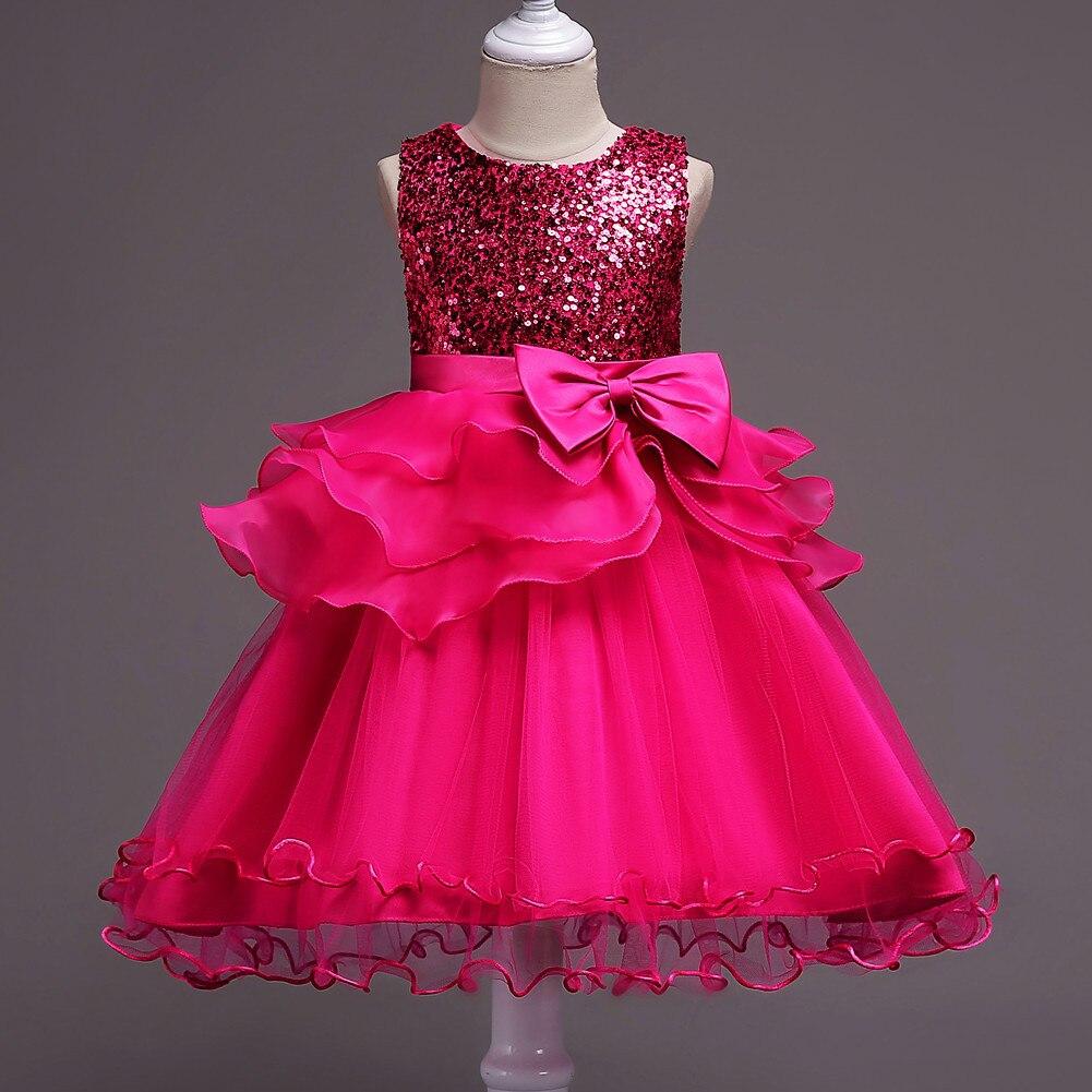Summer Hot Selling Europe And America New Style Sequin Bow Dress CHILDREN'S Full Dress Children Dress