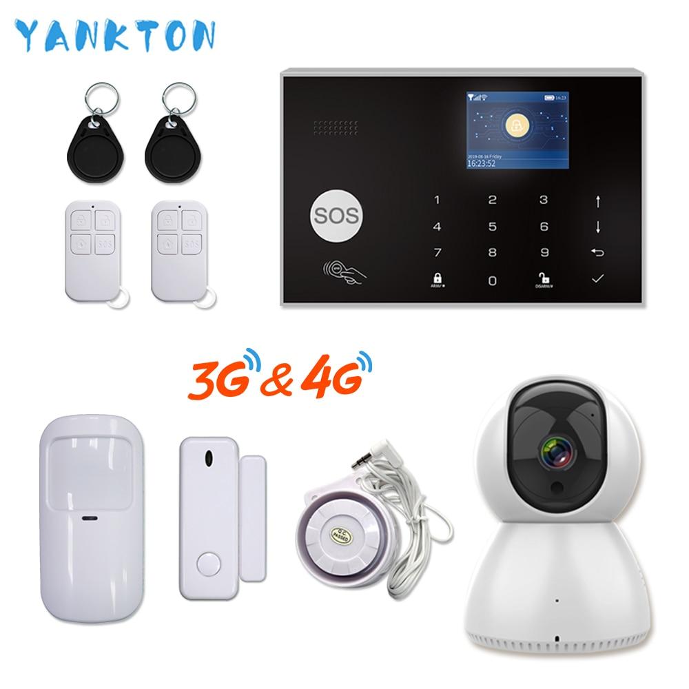 Tuya 433MHz WiFi 3G&4G Home Burglar&Security Alarm System APP Remote Control Wireless Alarm Host Kit With IP Camera Baby Monitor