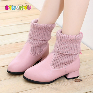 Girls Boots Winter Fashion Boots Leather Children Martin Boots Plus Velvet Warm Little Girl Shoes High Heel Princess Shoes